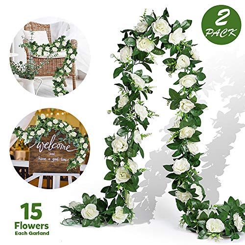EPLST 2 Pack/ 15.7 FT Artificial Flowers Lifelike Silk Decorative Faked Flower Rose Vine Rattan Cane Garland Wall Hang Plant Wedding Party Home Garden Hotel Office Arch Arrangement Decoration (White)