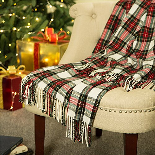 Glitzhome Throw Blanket for Couch Soft Cozy Throw Blanket for Bed Tartan Shawl with Tassels Plaid Throw Blanket for Sofa Reversible Wrap Scarf for Women & Men, 60 x 50 Inches