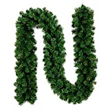 9 FT Garland for Christmas Decorations Portico Green Holiday Decor for Outdoor or Indoor...