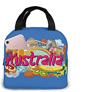 Australia Lunch Bag Reusable Insulated Cooler Tote Box With Front Pocket Zipper Closure For Woman Man Work Pinic Or Travel