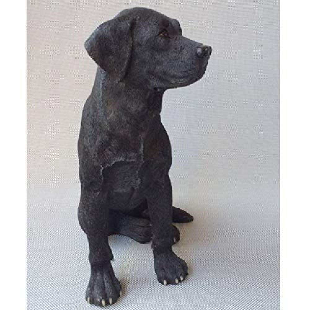 Sits on a shelf edge Black Dog Wood Statue Size Small