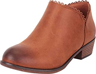 Cambridge Select Women's Scalloped Eyelet Distressed Stacked Low Heel Ankle Bootie