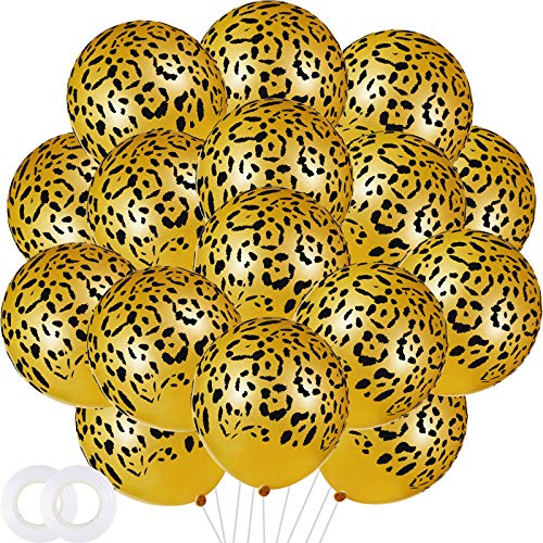 60 Globos de Látex de Manchas de Leopardo Globos de Guepardo Globos con Estampado Animal de Safari para Decoración de Fiesta de Cumpleaños Temático de Selva de Animal de Parque Zoológico