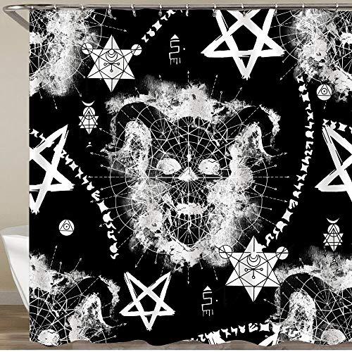 LISNIANY Cortinas Ducha,Diablo cráneo misteriosos símbolos y Pentagrama en Negro símbolo de la Muerte Magia Negra,Cortina de Ducha Impermeable