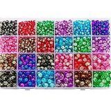 MMYAN Juego de joyas DIY redondo Gemas Gemas Kit de Cuentas de Cristal DIY Kit de Cuentas Coloridas para Joyería Accesorios (Juego de 1)