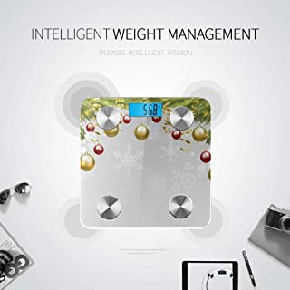 Bluetooth Body Fat Scale Christmas Tree Branches with Baubles Smart Wireless Scale with LCD Display Measuring Body Weight Bmi and Health Digital Sc