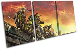 Bold Bloc Design - Ninja Turtles TMNT Poster Movie Greats 150x75cm TREBLE Canvas Art Print Box Framed Picture Wall Hanging - Hand Made In The UK - Framed And Ready To Hang