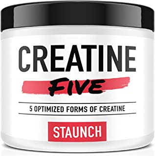 Staunch Creatine Five Creatine Powder (Fruit Punch) 30 Servings - Creatine Monohydrate, MagnaPower, Tri-Creatine Malate, C...