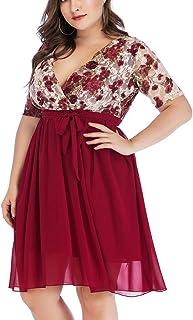 Plus Size Dress, AgrinTol Women Sexy V-Neck Floral Maxi Evening Party Boho Beach Dress