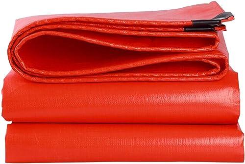 Hyzb Grande bache avec des Oeillets bache Jardin Piscine Couverture de Sol Feuille Coupe-Vent imperméable Couverture Camping Tente extérieure sous-Couche (Couleur   Orange jaune, Taille   5 x 8m)