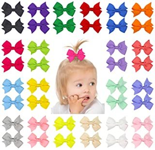 """QtGirl 40pcs 2"""" Mini Hair Bow Grosgrain Ribbon Hair Bows with Alligator Clips for Baby Girls Toddlers Kids in Pairs"""