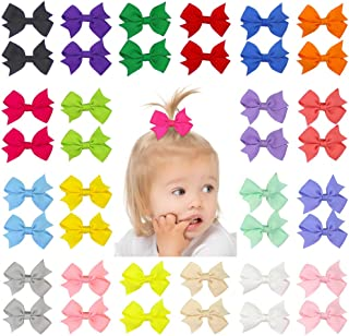 "QtGirl 40pcs 2"" Mini Hair Bow Grosgrain Ribbon Hair Bows with Alligator Clips for.."