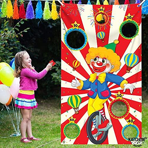 Pancarta roja de juegos de Carnaval con 3 puf – grande, 132 x 76 cm | Payaso Carnaval Banner para juegos de carnaval para niños fiesta temática de carnaval | Decoración de...