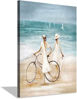 lady on beach painting