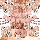 D'anniversaire Ballons Rose Gold Kit Guirlande Happy Birthday,Décorations Decor Anniversaire Rose Gold Or Feuille Confettis Ballons Confettis, Assiettes, Tasses,Pailles, Serviettes, Nappe, Frange