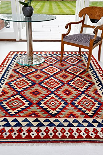 Teppiche of London Traditionelle Handgemachte afghanischen Schirwan Kelim Teppich, Wolle, Mehrfarbig, 180x 120x 1cm