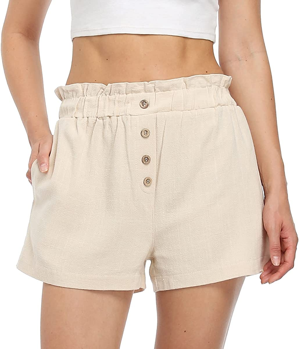 WUDODO Womens Ranking TOP16 Casual Linen Max 52% OFF Shorts Waist Elastic w Buttons