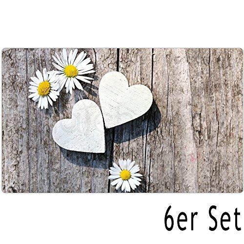 matches21 Tischset Platzset MOTIV Gänseblümchen auf Holzbrett 6er Set Kunststoff je 43,5x28,5 cm abwaschbar