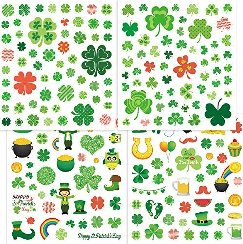 Fancy Land 400 St Patrick s Day Stickers Shamrock Stickers for Kids 8 Sheets Party Decoration product image