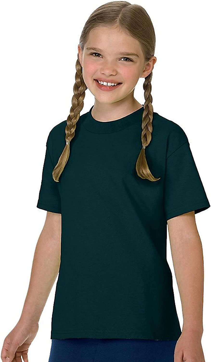 Hanes Authentic TAGLESS Boys' Cotton T-Shirt_Deep Forest_M