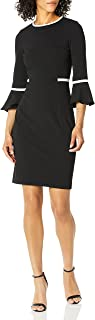 Women's Bell Sleeve Dress with Contrast Piping