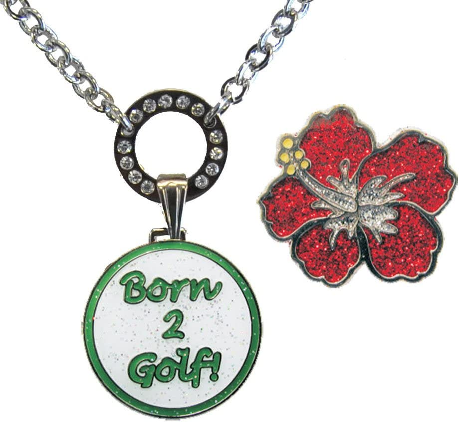 Navika Magnetic At the price of surprise Ball Marker Boston Mall Necklace w 2 Golf Glitzy Born Green