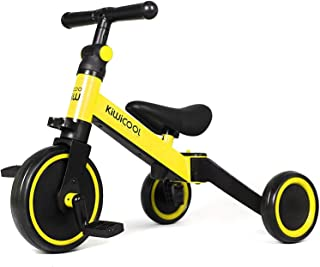 Kiwicool 3 in 1 Kids Tricycles for 1.5-4 Years Old Kids Trike 3 Wheel Bike Boys Girls Toddler Tricycles, Color: Yellow