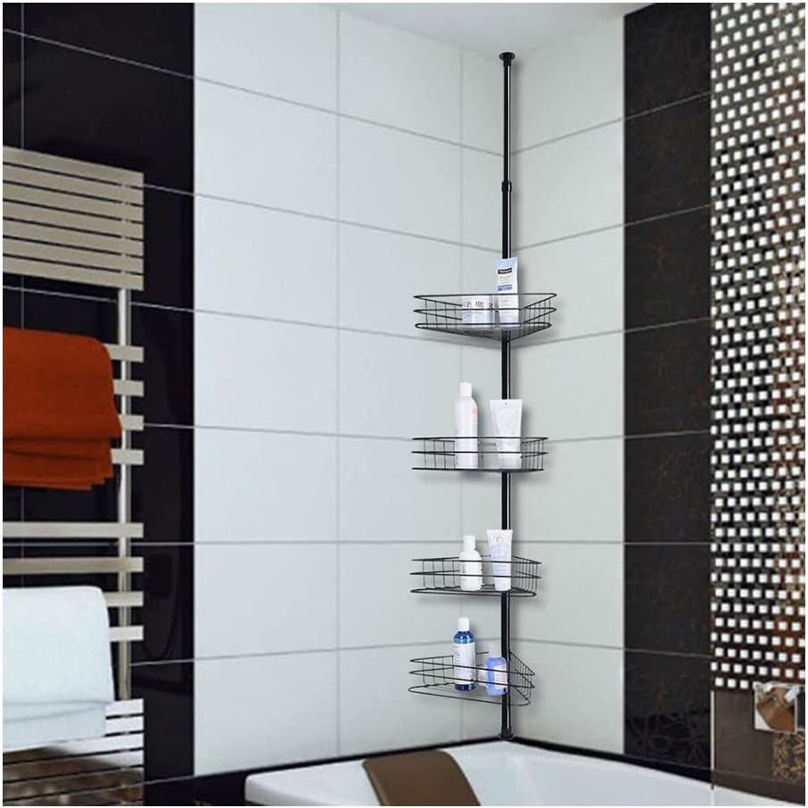4 Layers Metal Limited time for free shipping Louisville-Jefferson County Mall Shower Corner Pole Caddy Stor Shelf Wall Bathroom