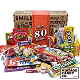 VINTAGE CANDY CO. 80TH BIRTHDAY RETRO CANDY GIFT BOX - 1941 Decade Nostalgic Childhood Candies - Fun Gag Gift Basket for Milestone EIGHTIETH Birthday - PERFECT For Man Or Woman Turning 80 Years Old