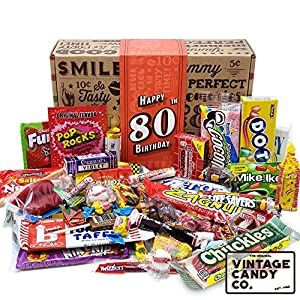 THE ORIGINAL VINTAGE CANDY CO. 80TH BIRTHDAY NOSTALGIC CANDY GIFT FOR MEN AND WOMEN EIGHTY YEARS DECADE CANDY FAVORITES IN A FUN CHILDHOOD KEEPSAKE BOX CELEBRATE A LOVED ONES 80TH BIRTHDAY WITH A TRIP DOWN MEMORY LANE INCLUDES OVER 58 PIECES OF CANDY...