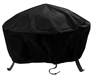 Sunnydaze Outdoor Round Fire Pit Cover with Drawstring and Toggle Closure - Heavy Duty Weather-Resistant and Waterproof Black 300D Polyester and PVC - 40 Inch Diameter Protective Fire Pit Accessory