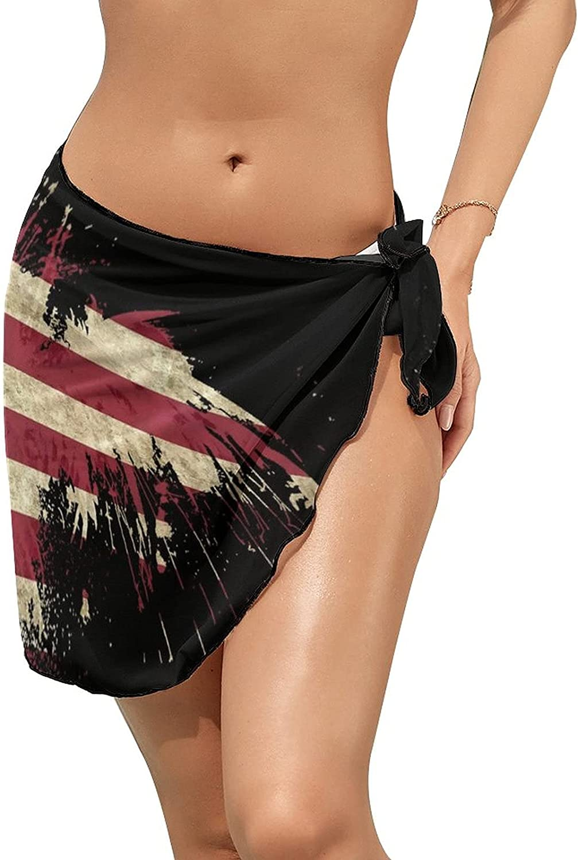 JINJUELS Women Beach Wrap Skirts Cool American Flag Personalized Bikini Swimwear Beach Cover Up