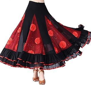 Hongyuangl Floral Pailletten Latin Flamenco Tanzkleid Tango Walzer Rock Bühnenkostüm Spanischer Stierkampf Rock