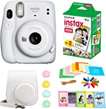 Fujifilm Instax Mini 11 Instant Camera + Instax Mini Twin Pack Film + Hanging Frames + Plastic Frames + Case + Close Up Filters - All Inclusive Bundle! (Ice White)