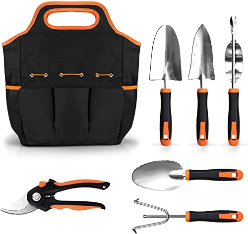 789 6 Piece Stainless Steel Heavy Duty Garden Tools Set, with Non-Slip Rubber Grip, Storage Tote Bag, Outdoor Hand Tools, Garden Gifts for Parents and Kids, Black and Orange GGT4A