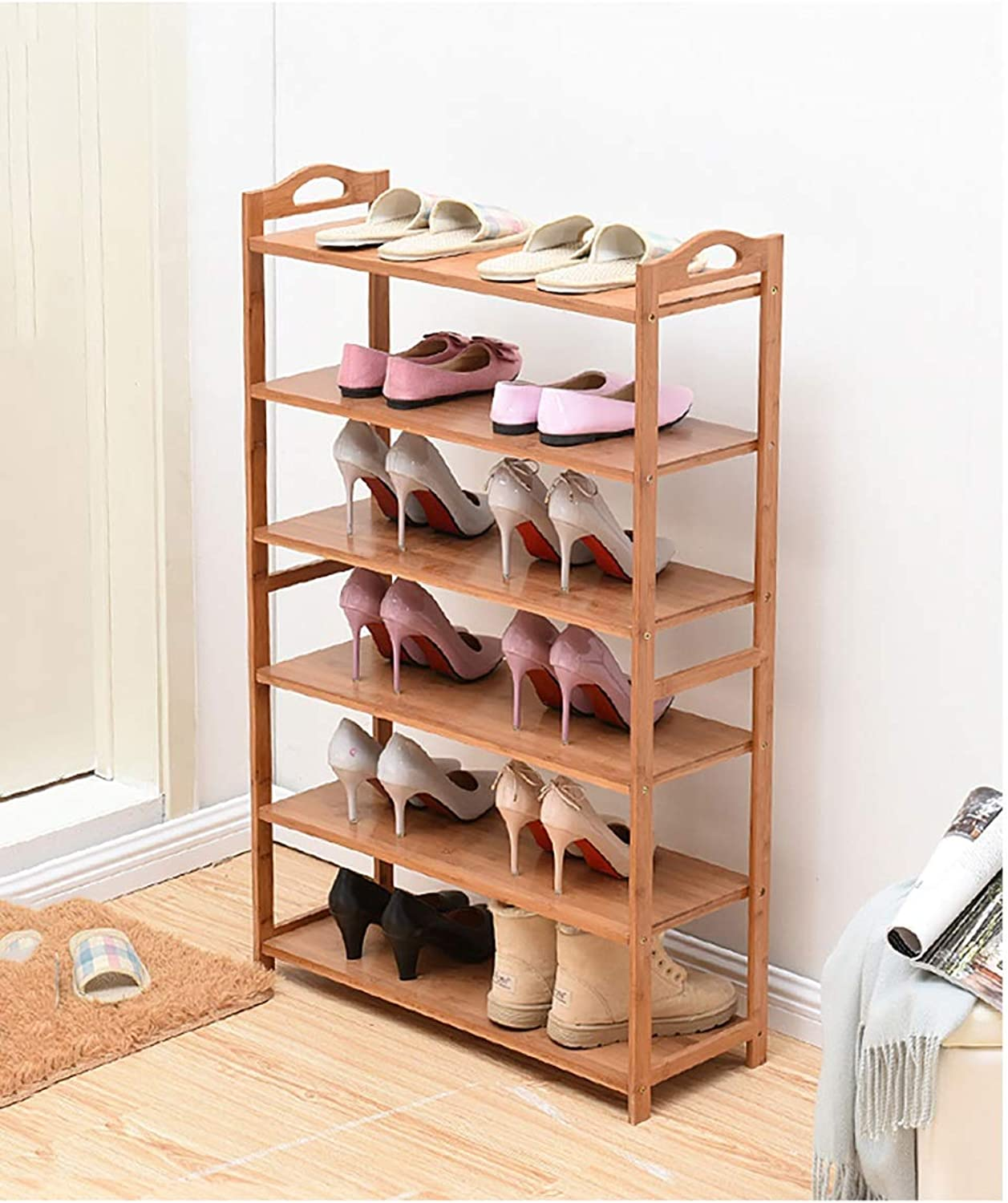 shoes Bench Organizing Rack Natural Bamboo shoes Rack Solid Wood Foyer 6 Storey shoes Rack (Size   60  26  108cm)