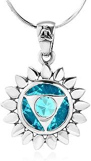 Chuvora 925 Sterling Silver Blue Glass Vishuddha Throat Chakra Healing Pendant Necklace, 18 inches