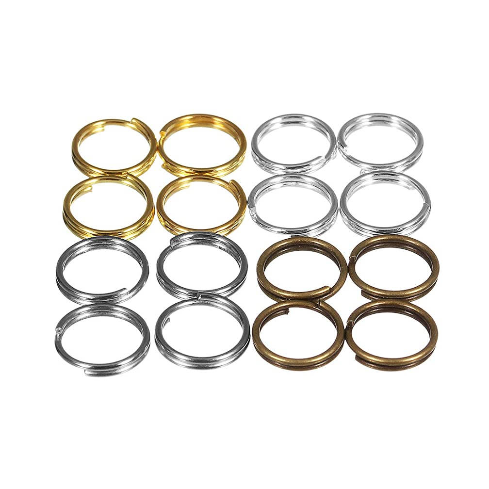 Forise 400Pcs Jump Ring Connector Mix 4 Style Fashion Split Double Loops Open Key Chains for Charm Jewelry Making Bracelet Necklace (4mm)