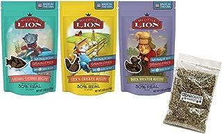 My Little Lion Bundle Grain Free Cat Treats 3 Flavor Bundle, (1) Each: Lick'N Chicken, Salmon-Licious, Duck Hunter - 2.65 Ounces - Catnip Bag