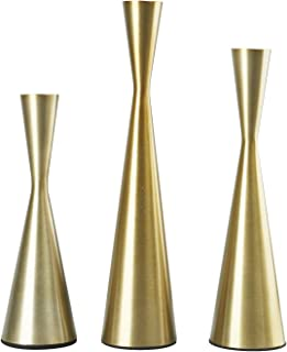 Homend Set of 3 Metal Taper Candle Holders Candlestick Holders, Vintage & Modern Decorative Centerpiece Candlestick Holders for Table Mantel Wedding Housewarming Gift (Brass)