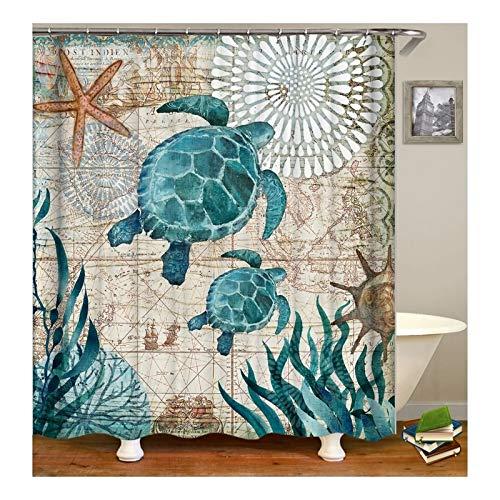 Bishilin Polyester-Stoff 3D Vintage Duschvorhang 150X200 Schildkröte Seestern Anti-Schimmel Duschvorhang