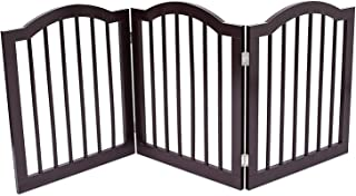 Internet's Best Pet Gate with Arched Top - 3 Panel - 24 Inch Step Over Fence - Free Standing Folding Z Shape Indoor Doorway Hall Stairs Dog Puppy Gate - Fully Assembled - Espresso - MDF