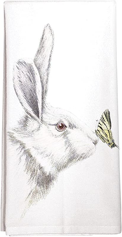 Montgomery Street White Rabbit With Butterfly Cotton Flour Sack Dish Towel