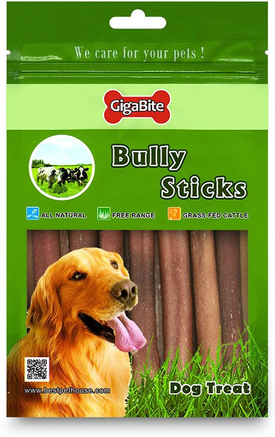 Best Pet Supplies BPS, FDA and USDA Certified Bully Sticks for Pets, 6Inch, 15Piece Per Pack