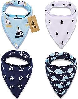 iZiv(TM) Baberos del Bebé - Paquete de 4 Diseños Pañuelo con Snaps Ajustables, TPU Impermeable Guarnición para niño 0-2 años (Color-2)