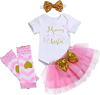 Baby Girl Clothes Mommy is My Bestie Romper Tutu Skirt with Headband Legging 4Pcs Outfit Sets