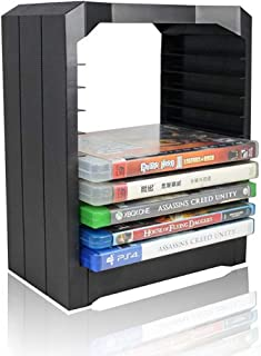 Estanterías para CD DVD Torre universal de almacenamiento en disco de juegos de PS4, Soporte multifuncional de 10 juegos y discos Blu Ray, Game Disks Organizer Storage Rack para XBOX ONE PS4, Negro