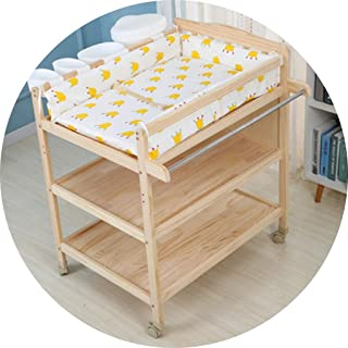 Portable Changing Mats Diaper Table Multi-functional Diaper Changing Table Baby Mobile Bath Table Baby Massage Table (Color : Brown, Size : 85 * 62 * 97cm)