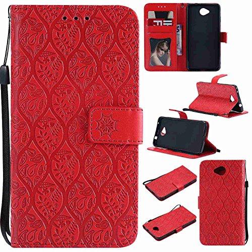 pinlu® PU Leder Tasche Handyhülle Für Microsoft Lumia 650 Smartphone Wallet Hülle Mit Standfunktion & Kartenfach Design Rattan Blume Prägung Rot