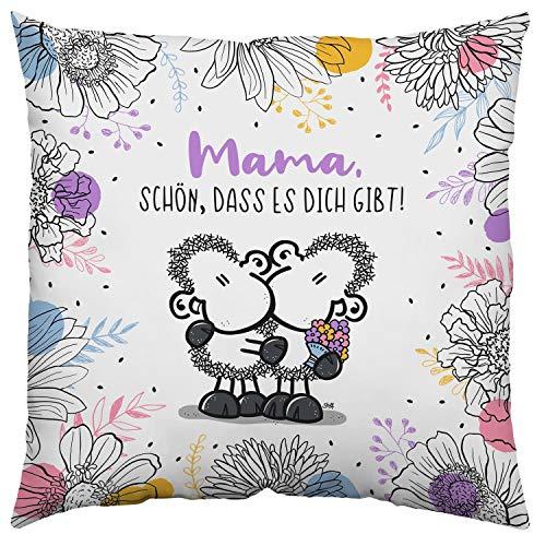 Sheepworld 46295 Baumwoll-Kissen Mama Schön DASS es Dich gibt, Zierkissen 40 cm x 40 cm, Mehrfarbig